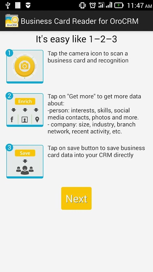 Biz Card Reader for Oro CRM- screenshot