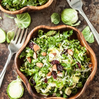 Kale, Brussels, and Cranberry Salad.