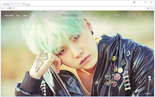 Min Yoongi Suga HD Wallpaper BTS New Tab