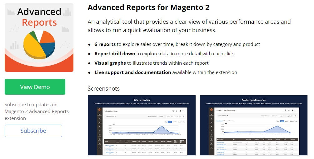 Advanced Reports Magento 2 plugin