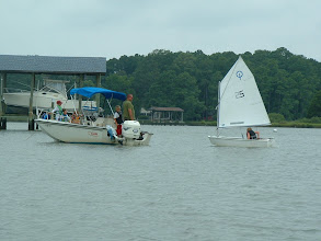 Photo: Preparing for participant change in the boat.