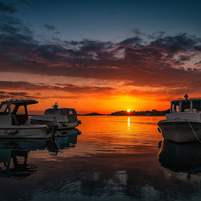 Little port magic sunset by Branko Meic-Sidic - Transportation Boats ( magic, orange, sky, waterscape, sunset, dramatic, boats, colours, euphoria )