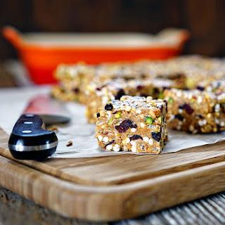 Easy Almond Butter, Pistachio, Cranberry No-Bake Granola Squares