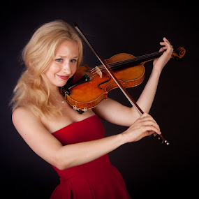 Young Violinist by Phil Portus - People Portraits of Women ( blonde, red, violin, dress, lady. female, women, violinist, lady )