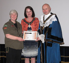 Photo: Biddy McMeel (who restarted Nottingham Pride in 2003) receiving an ward for Pride Committees past and present