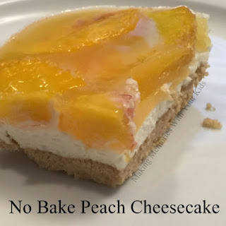No Bake Peach Cheesecake with a Cookie Crust