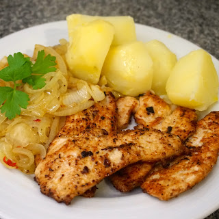 Pan Fried Turkey Breast With Boiled Potatoes And Chilli Onions Recipe
