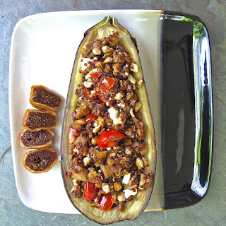 Quinoa and Fig Stuffed Eggplant.