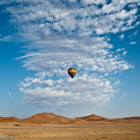 In the Clouds by Charel Schreuder - Landscapes Deserts ( clouds, sossusvlei, hot air balloon, desert, namibia )