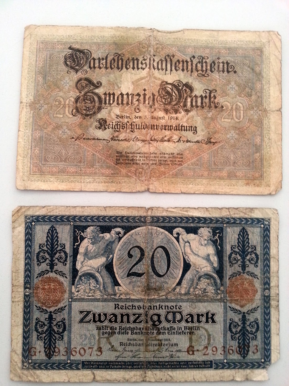 Reichsbank 20 Mark 1914 1918