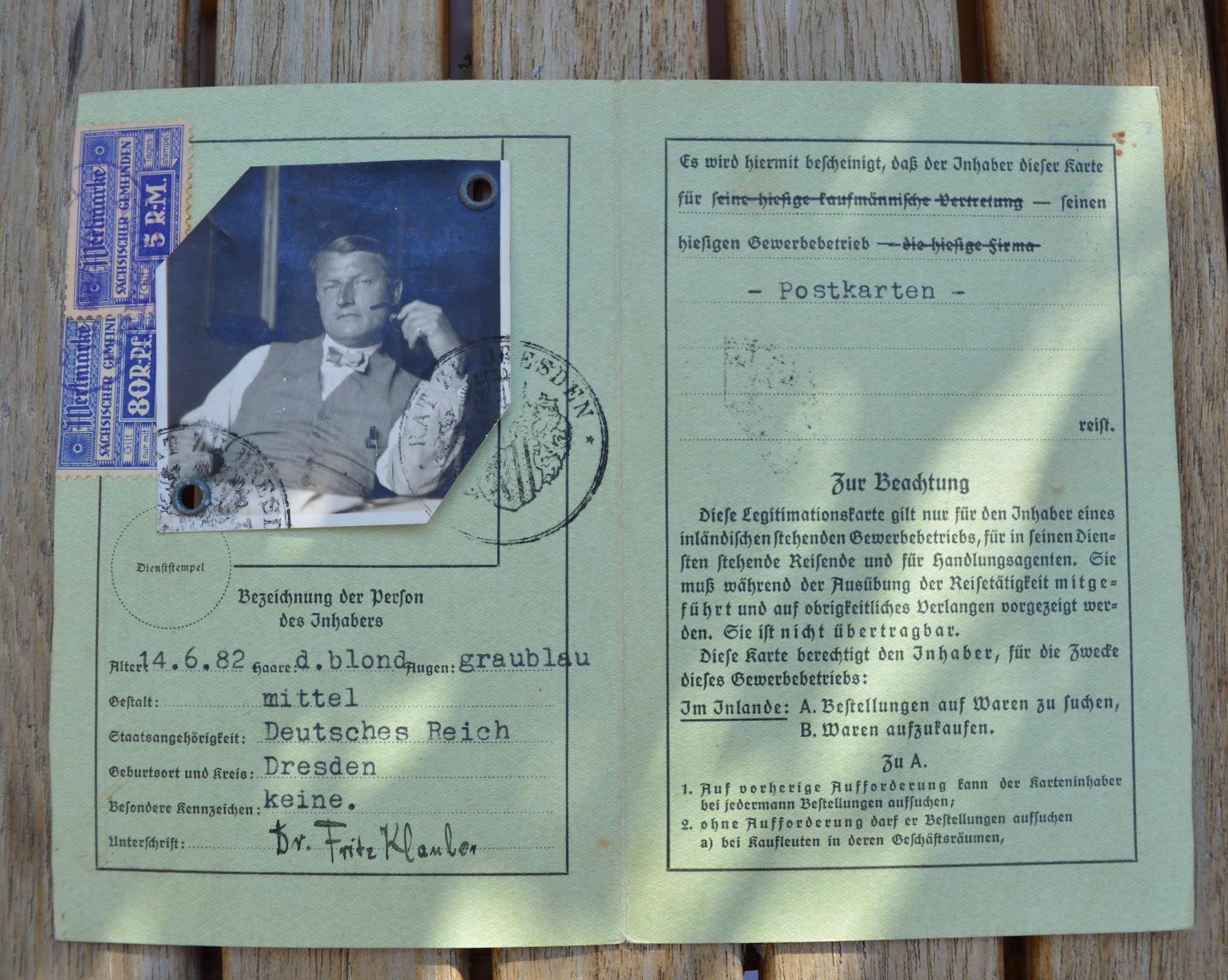 Legitimationskarte Dr. Fritz Klauber - Postkartenverkäufer und Handlungsreisender - 1935