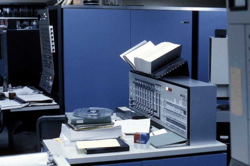 Photo: IBM S/360-67 configuration console (foreground) and CPU (background) at the Computing Center, North University Building, University of Michigan, Ann Arbor, USA, c. 1968