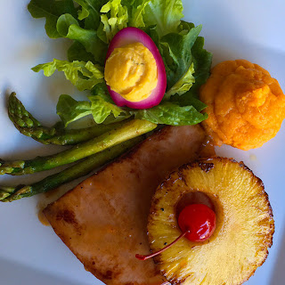 Ham Steak with 'No Sugar' Glazed Pineapple Ring - Sweet Potato Puree - Pan Sauteed Asparagus - Deviled Pink Pickled Egg
