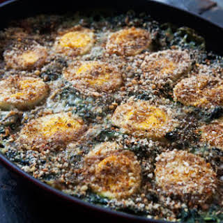 Spinach Gratin with Hard Boiled Eggs.