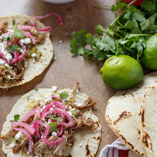 Carnitas Tacos with Pickled Onions and Salsa Verde.