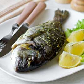 Baked Whole Sea Bream with Lemon Basil Pesto