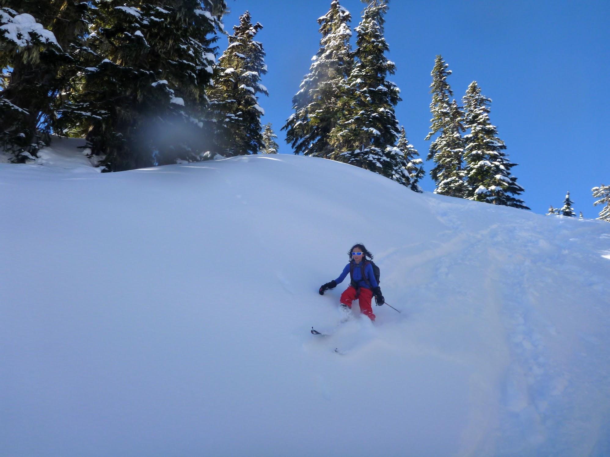 Skiing down a random drainage