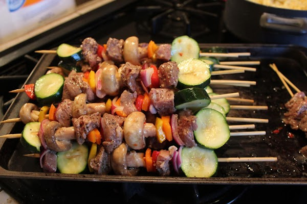 Preheat grill, medium to med-high heat. Alternately place vegetables and meat onto skewers.