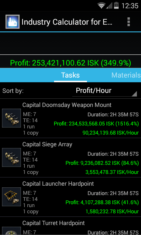 Industry Calculator for EVE- screenshot