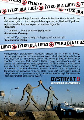 Tył ulotki filmu 'Dystrykt 9'