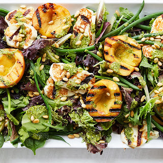 Grilled Peach and Halloumi Salad with Lemon-Pesto Dressing Recipe