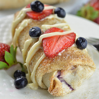 Oven Baked Berry Cheesecake Chimichangas.