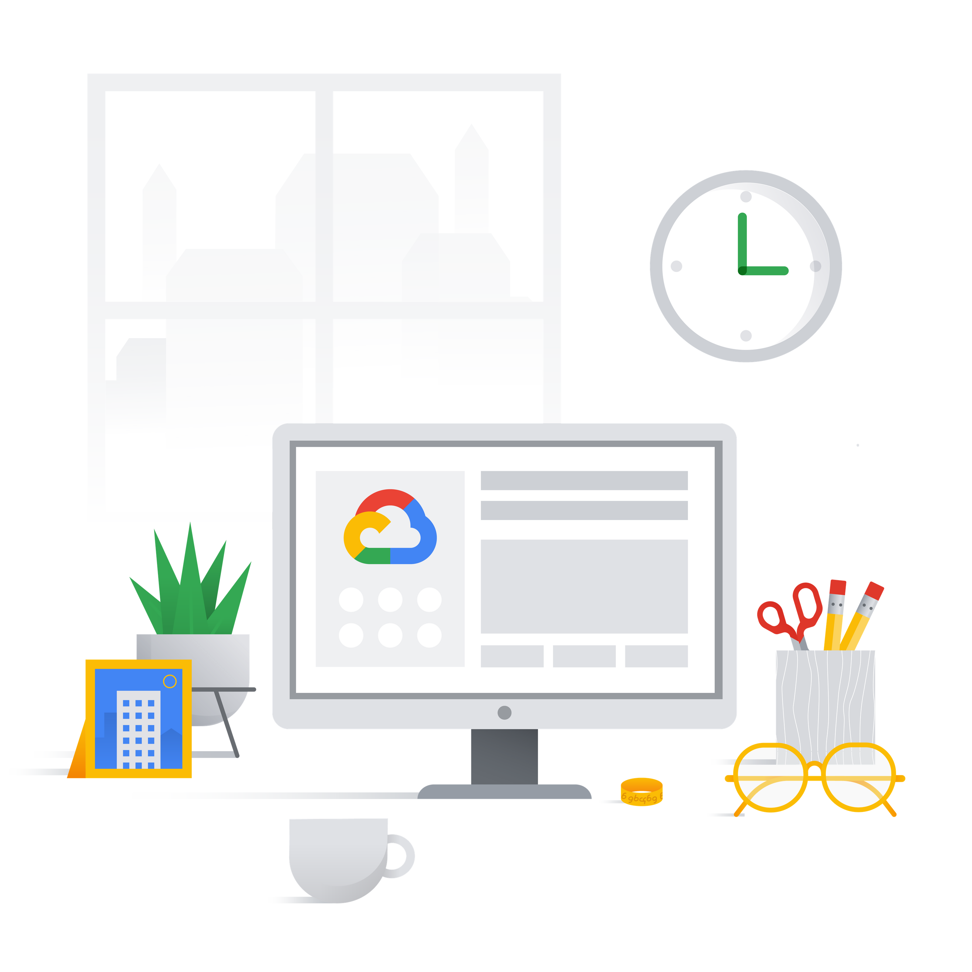 Imagen que muestra un ordenador y objetos de un despacho en casa