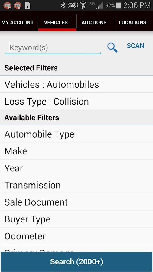IAA Buyer Salvage Auctions- screenshot