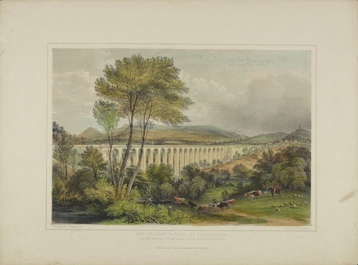 "Lithograph, "" Dee Viaduct - Vale of Llangollen"""