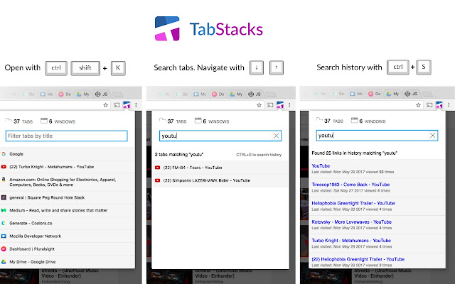 Tab Stacks: tab menu and history search