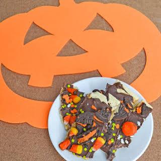 Halloween Candy Toffee Bark.