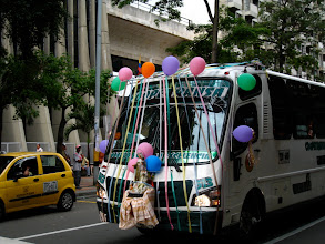 Photo: Buses with festive decorations in preparation for Colombia's 200th anniversary.