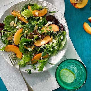 Green Salad with Peaches, Feta & Mint Vinaigrette.