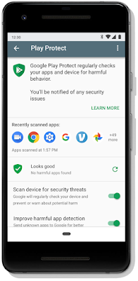 Google Play Protect dashboard screen on mobile