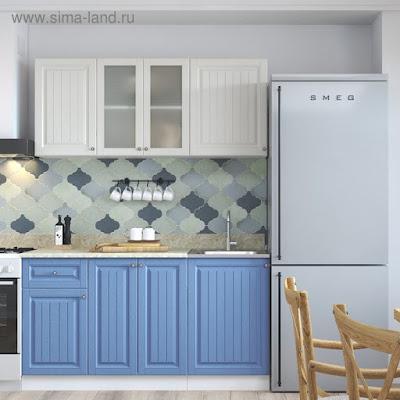 Кухня Нова 1.5 м МДФ, Магнолия/Деним