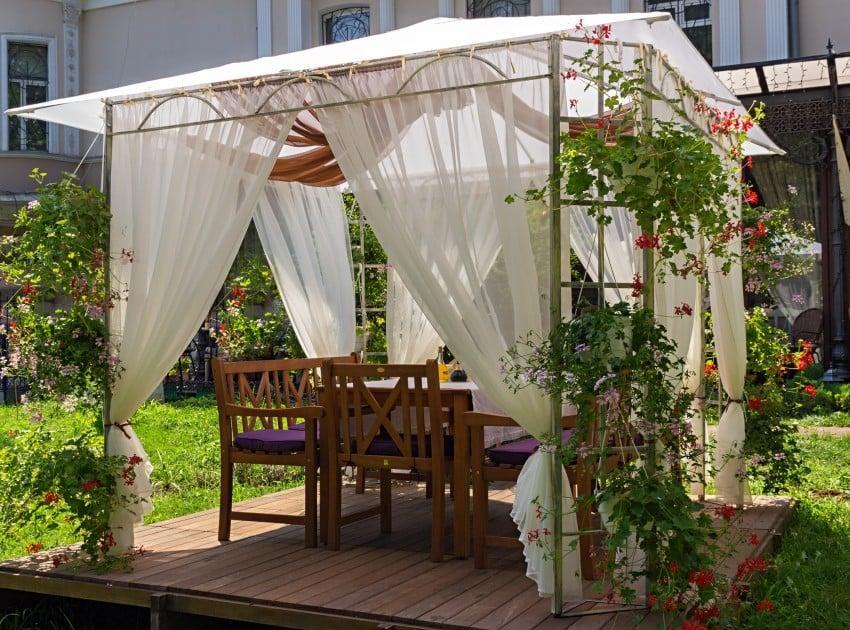 canopy pavilion in garden