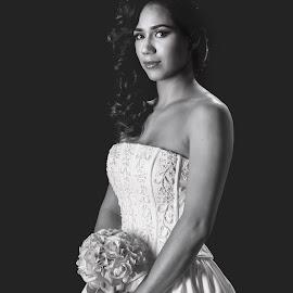 Beautiful Bride by Jeffrey Martin - Black & White Portraits & People ( bride, studio, beautiful bride, black and white, wedding, portrait )