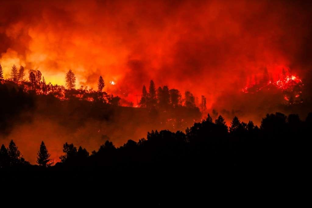 <p>The Camp Fire burns along a ridgetop near Big Bend, Calif., on Saturday, Nov. 10, 2018.</p>