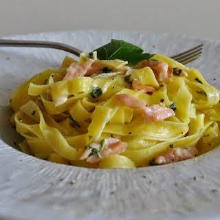 Fettuccine Pasta with Creamy Smoked Salmon Sauce.