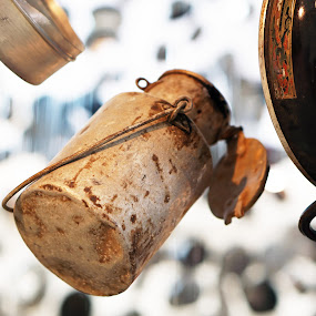 suspended by Alice Chia - Artistic Objects Antiques ( handle, metal, milk, art, rusty, jug, suspended,  )