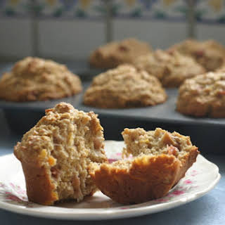 Wholegrain Rhubarb Muffins With Apricot And Ginger.