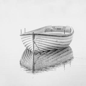 Spirit of Loch Rusky by Andrew Magee - Black & White Objects & Still Life ( high key, reflection, monochrome, transport, art, blsck and white, boat, mono )