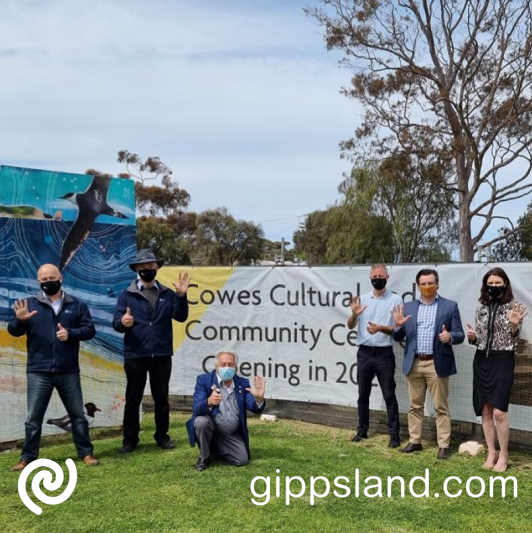Bass Coast Shire Mayor, Cr Brett Tessari, Deputy Mayor Cr Michael Whelan, Cr Ronnie Bauer, Cr Davis Roosk, General Manager Place Making James Stirton and CEO Ali Wastie celebrate the announcement today