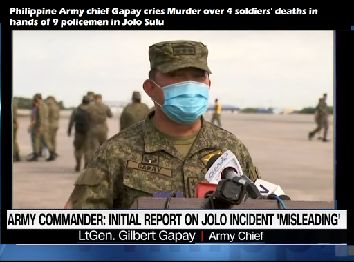 Philippine Army chief Gapay cries Murder over 4 soldiers' deaths in hands of 9 policemen in Jolo Sulu