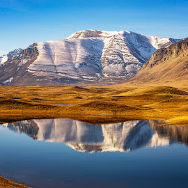 Mountain Reflection by Rita Taylor - Landscapes Mountains & Hills ( mountain, sno, autumn, lake )