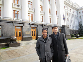 Photo: Behind us is the presidential residence built during Soviet times.