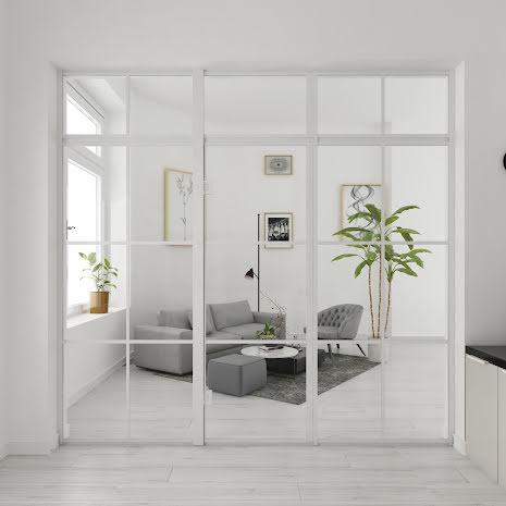 Industrivägg två väggar + en dörr + ovanliggare vit