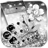 Glitter Silver Flower Theme Wallpaper