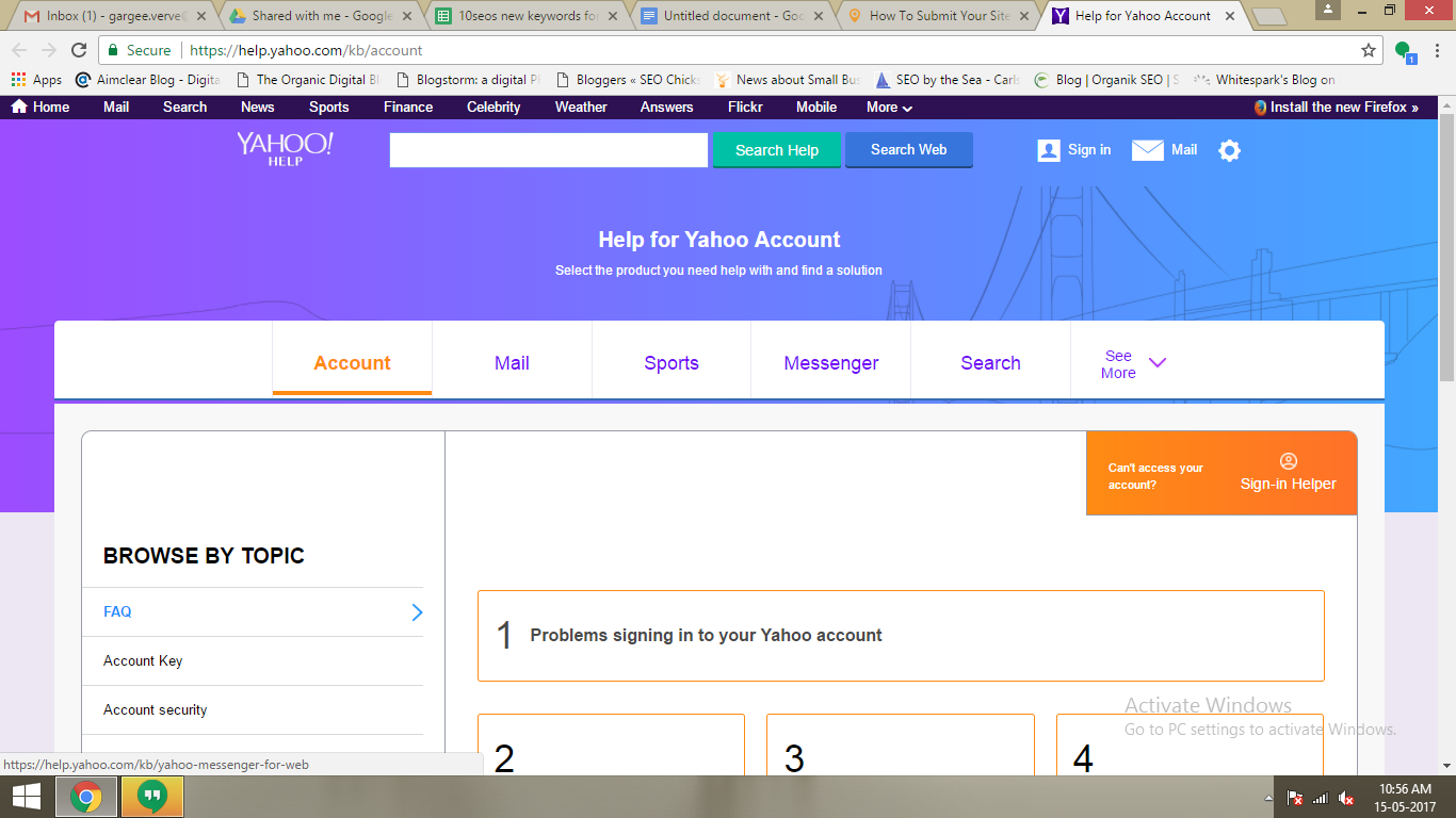 yahoo account key icon location
