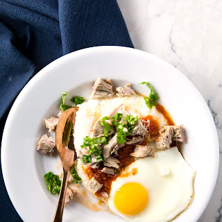 Pork And Grits With Heirloom Tomato Jam And Fried Eggs